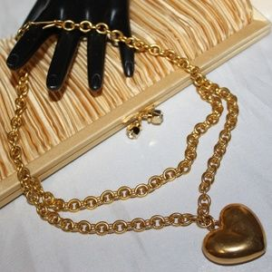 Jewelry - VINTAGE PUFF HEART VALENTINE GOLD PLATE NECKLACE
